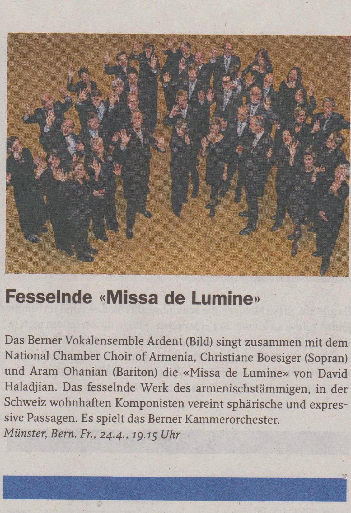"""Anzeiger Region Bern """"Fesselnde Missa de Lumine"""""""